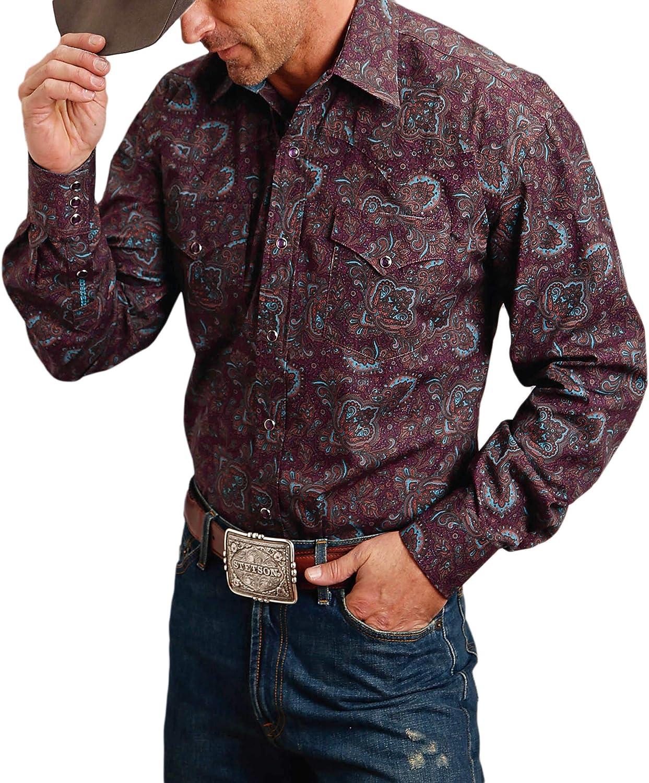 Stetson Men's Wine Paisley Print Long Sleeve Western Shirt Burgundy Small