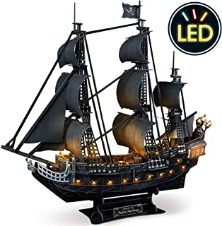 CubicFun 3D Puzzle for Adults LED Pirate Ship Puzzles Sailboat Vessel Model Kits, Large Black Queen Anne's Revenge Difficult Puzzles with Led Lights Watercraft Gifts for Men Women, 340 Pieces