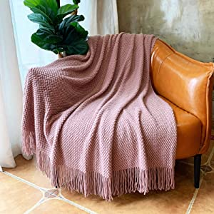 LOMAO Knitted Throw Blanket with Tassels Bubble Textured Lightweight Throws for Couch Cover Home Decor (Pink, 50x60)