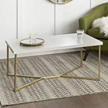 Eden Bridge Designs Rectangular Modern Coffee Table/Glamour Style for Living Room, White Faux Marble/Gold