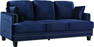 Meridian Furniture Ferrara Velvet Upholstered Sofa with Square Arms, Silver Nailhead Trim, and Custom Solid Wood Legs, Navy