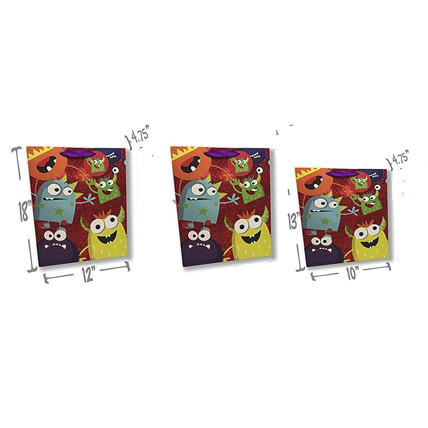 Monster Gift Bags - Set of 3 Premium Quality Gift Bag Sets Glitter Detail Inside Print Plus Gift Tag (Monster Party Fun, 2 Jumbo & 1 Large)
