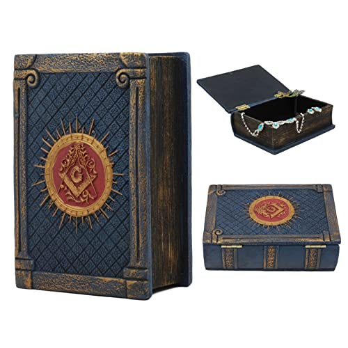 Ebros Small Masonic Secret Book Box Freemasonry Square and Compasses Ritual Morality Blue Small Hinged Book