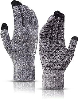 دستکش زمستانی TRENDOUX برای آقایان و خانمها - ژل سیلیکون ضد لغزش صفحه لمسی گره دار - کاف کشسانی - روکش پشم نرم حرارتی - مواد کششی