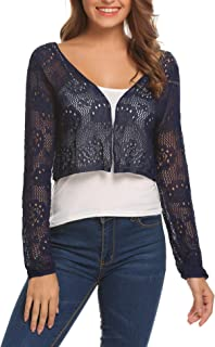 Womens Lace Crochet Bolero Shrug Tops Long Sleeve Knit Open Cropped Cardigan Sweater