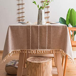 Mokani Washable Cotton Linen Stitching Tassel Design Tablecloth, Rectangle Table Cover Great for Kitchen Dinning Tabletop Buffet Decoration (55 x 78 Inch, Linen)
