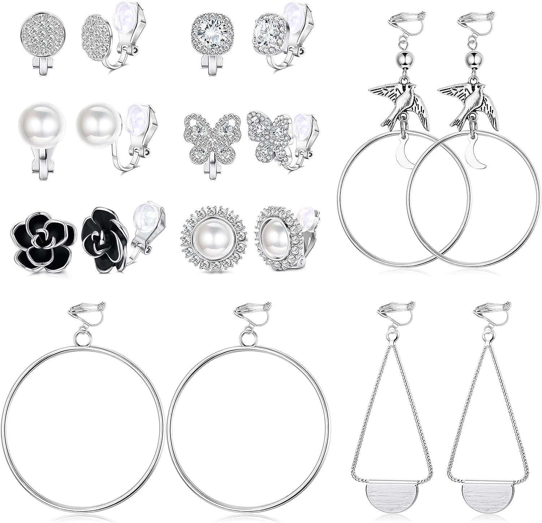 Hanpabum 9 Pairs Clip Earrings for Women Faux Pearl Cubic Zirconia Butterfly Rose Flower Non Pierced Clip on Hoop Earrings
