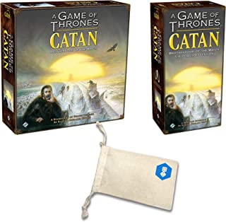 A Game of Thrones Catan with A Game of Thrones Catan 5-6 Player Extension Bundle | Includes Convenient Drawstring Storage Bag with Game Players Logo Printed