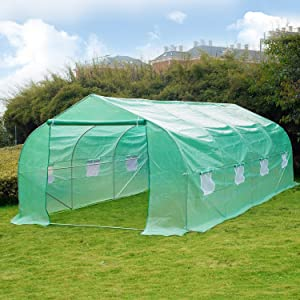 Greenhouse, 20' X 10' X 7' Portable Green Houses Tunnel Tent, Large Walk-in Heavy Duty Green Garden Plant Hot House Roll-up Windows, Zippered Door, 4 Stakes, 4 Ropes