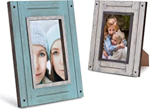 4x6 Picture Frames Set of 2 Distressed Wood - Turquoise and White - Table Top & Wall Mount Photo Frame Sets for Office Kit...