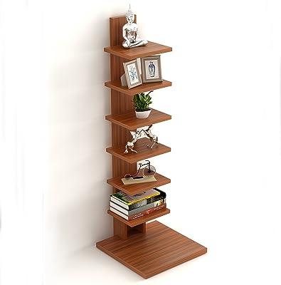 BLUEWUD Engineered Wood Floor Standing Book Shelf ,Matte Finish,Set Of 8,Walnut