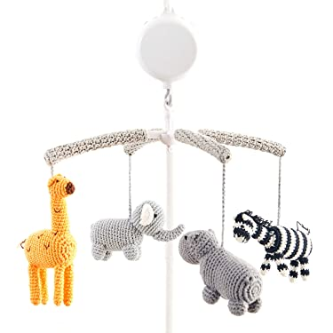 Joliecraft Woodland Safari Musical Baby Crib Mobile, Handmade Nursery Mobile Decor in White and Gray
