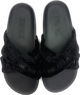 Victoria's Secret Women's Crossover Faux Fur Single Strap Slides Sandals