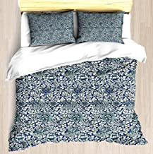 NTCBED Indigo Blue and White William Morris Pattern - Duvet Cover Set Soft Comforter Cover Pillowcase Bed Set Unique Printed Floral Pattern Design Duvet Covers Blanket Cover Queen/Full Size