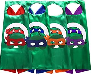 FLOWERBB 4Pcs Turtles Costume Kids Two Side Stain Cape and Mask Set Dress Up Green