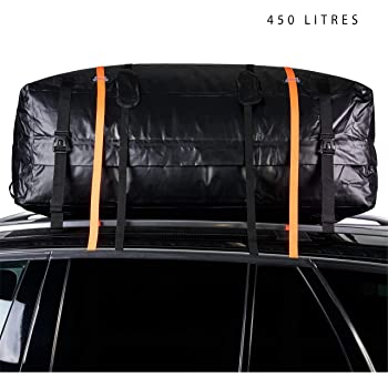 Zacro Car Roof Bag 425 Litres 15 Cubic Feet Cargo Bag Foldable and Waterproof Car Top Carrier Straps for Any Car with Roof Rack or No Rails