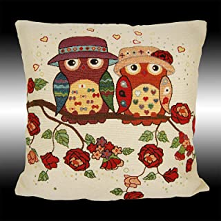PocaBlife Vintage Italian Pairs Owls Deco Tapestry Throw Pillow CASE Cushion Cover 20