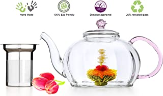 Glass Teapot No Drip Special Lead Free Glass (50 oz Pink Royal) Hand Crafted Pink Rose On top