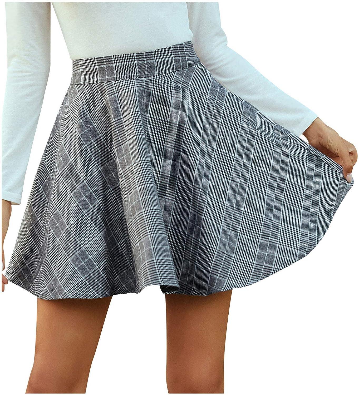 Meisiqw Fashion Women Plaid Print High Waist Casual Skirt Loose Big Swing Short Skirt