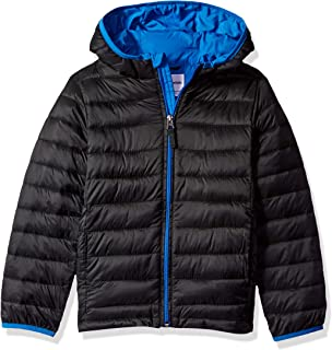 Boys Lightweight Water-Resistant Packable Hooded Puffer Jacket