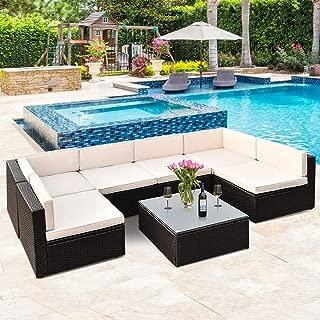 Tangkula Patio Furniture Set 7 Piece Outdoor Lawn Backyard Poolside All Weather PE Wicker Rattan Steel Frame Sectional Cushined Seat Sofa Conversation Set (Black Wicker)