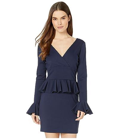 Nicole Miller Ponte Peplum Dress (Navy) Women