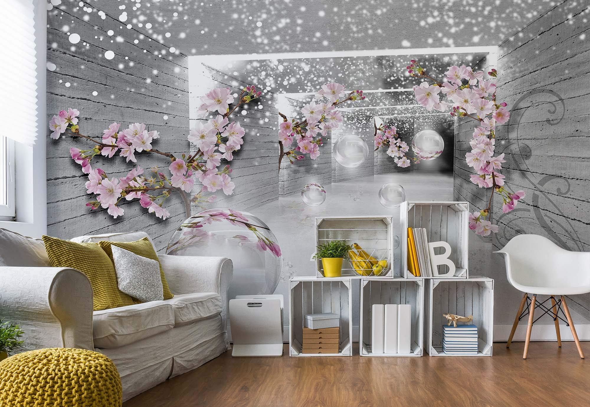 grey wall murals amazon co uksnow flowers and silver spheres photo wallpaper wall mural easyinstall paper giant