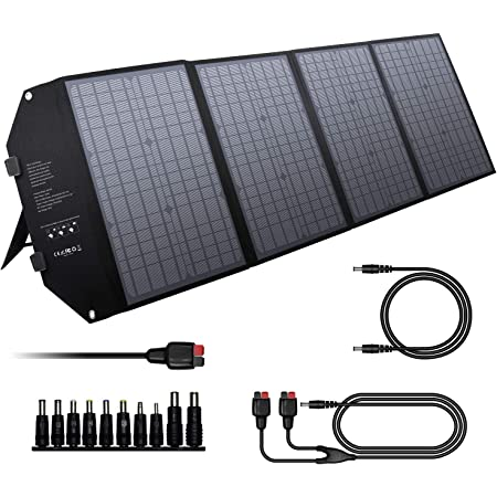 EnginStar 100W Foldable Solar Panel Charger with 18V DC Outlet for Portable Power Stations Jackery/Rockpals/Flashfish, Portable Solar Generator with USB-A USB-C QC 3.0 for Outdoor Camping Van RV Trip