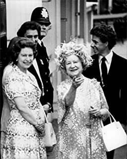 Vintage photo of Queen Elizabeth II, along with her mother, Queen Mother on her 80th birthday