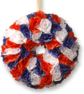 National Tree 14 Inch Patriotic Wreath with Red, White and Blue Roses (RAP-5285145W-1)