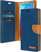 LG G6 Wallet Case with Free 4 Gifts [Shockproof] GOOSPERY Canvas Diary Ver.Magnetic [Denim Material] Card Holder with Kickstand Flip Cover for LG G6 - Blue, LGG6-CAN/GF-BLU