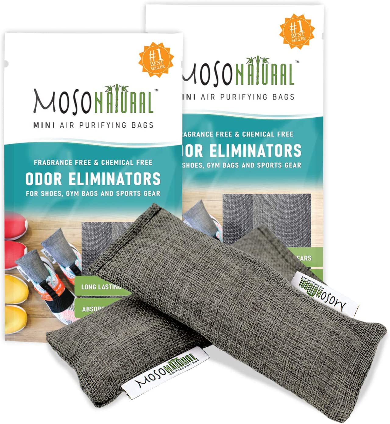MOSO NATURAL: The Original Air Purifying Bag for Shoes, Gym Bags and Sports Gear. an Unscented, Chemical-Free Odor Eliminator 2 Packs of 2 (4 Total)