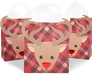 Blue Panda Christmas Gift Bags with Tissue Paper (15 Pack) Reindeer Plaid