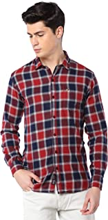 Men Cotton Casual Big Check Shirt