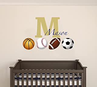 Customized Name with Sports Balls Design - Soccer...