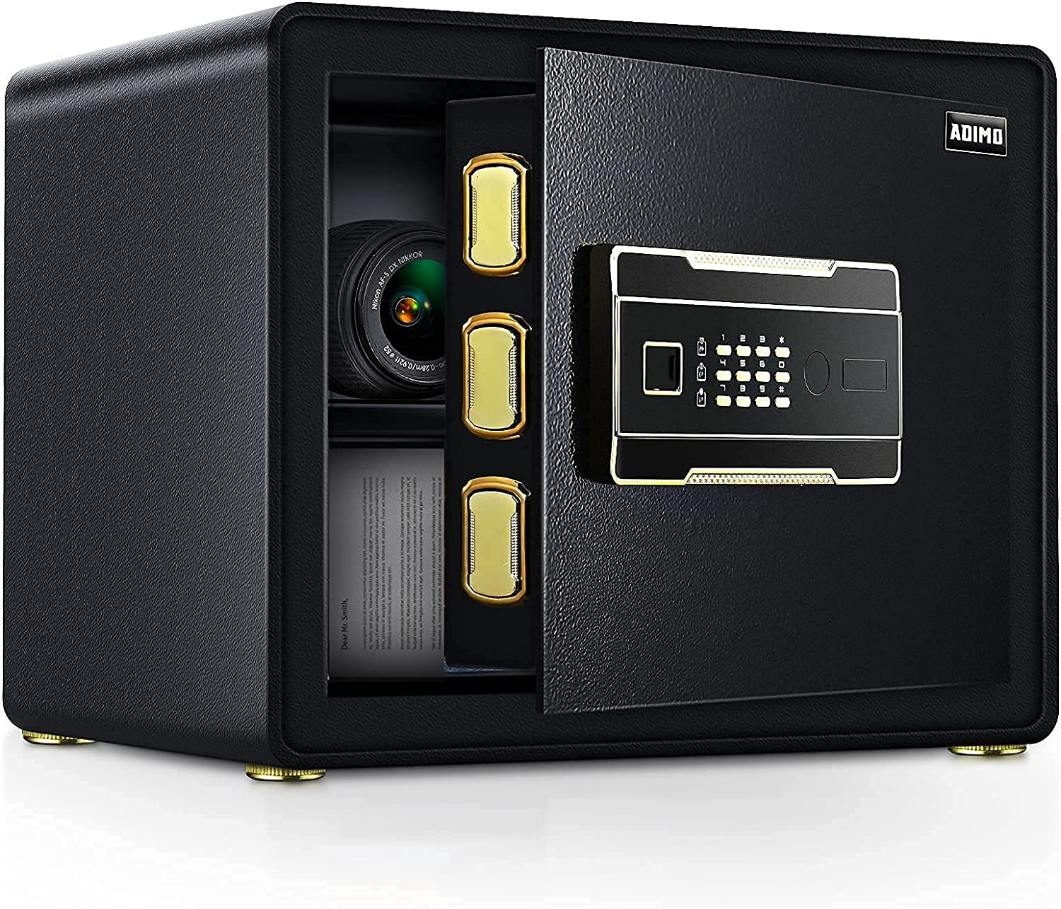 ADIMO Safe Box with 1.23 Cubic Feet, Safe Cabinet with 2 Master Key, Sensitive Alarm System to Protect Your Cash, Jewelry, Documents, Safe and Locked Box for Home&Office