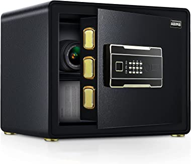 ADIMO Safe Box with 1.23 Cubic Feet, Safe Cabinet with 2 Master Key, Sensitive Alarm System to Protect Your Cash, Jewelry, Do
