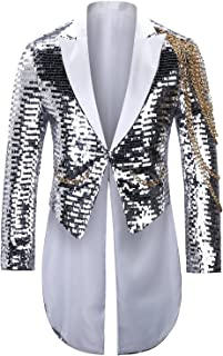 Allthemen Mens Glittery Tuxedo Sequin Blazer Jacket Fancy Stage Performance Scale Sequin