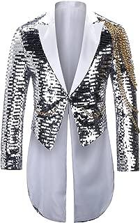 Men's Slim Fit Suit Blazer Casual Shiny Sequin Party Wedding Tailcoat Tuxedo