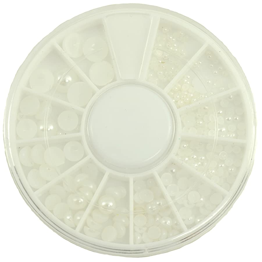 計り知れないデッキ補償ネイルパーツ 半円パール ホワイト MIX 7mm5mm4mm3mm2mm1.5mm デコパーツ