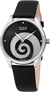 Women's Watch with Diamond Markers – Sunray Dial with Sparkling Crystal Powder Swirl – Satin Over Genuine Leather Skinny Strap BUR201