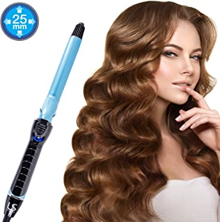 Kuron Store LESASHA Jumbo Curl Professional Hair Curling Iron, Womens Thermal Curler Long Lasting Curl Curve Maker Fast Heating Digital Control Pro Salon Tool Easy Styling Wand, 1 Inch Black & Blue