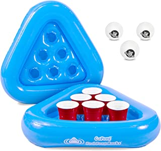 GoPong Pool Pong Rack Floating Beer Pong Set, Includes 2 Rafts and 3 Pong Balls, Blue