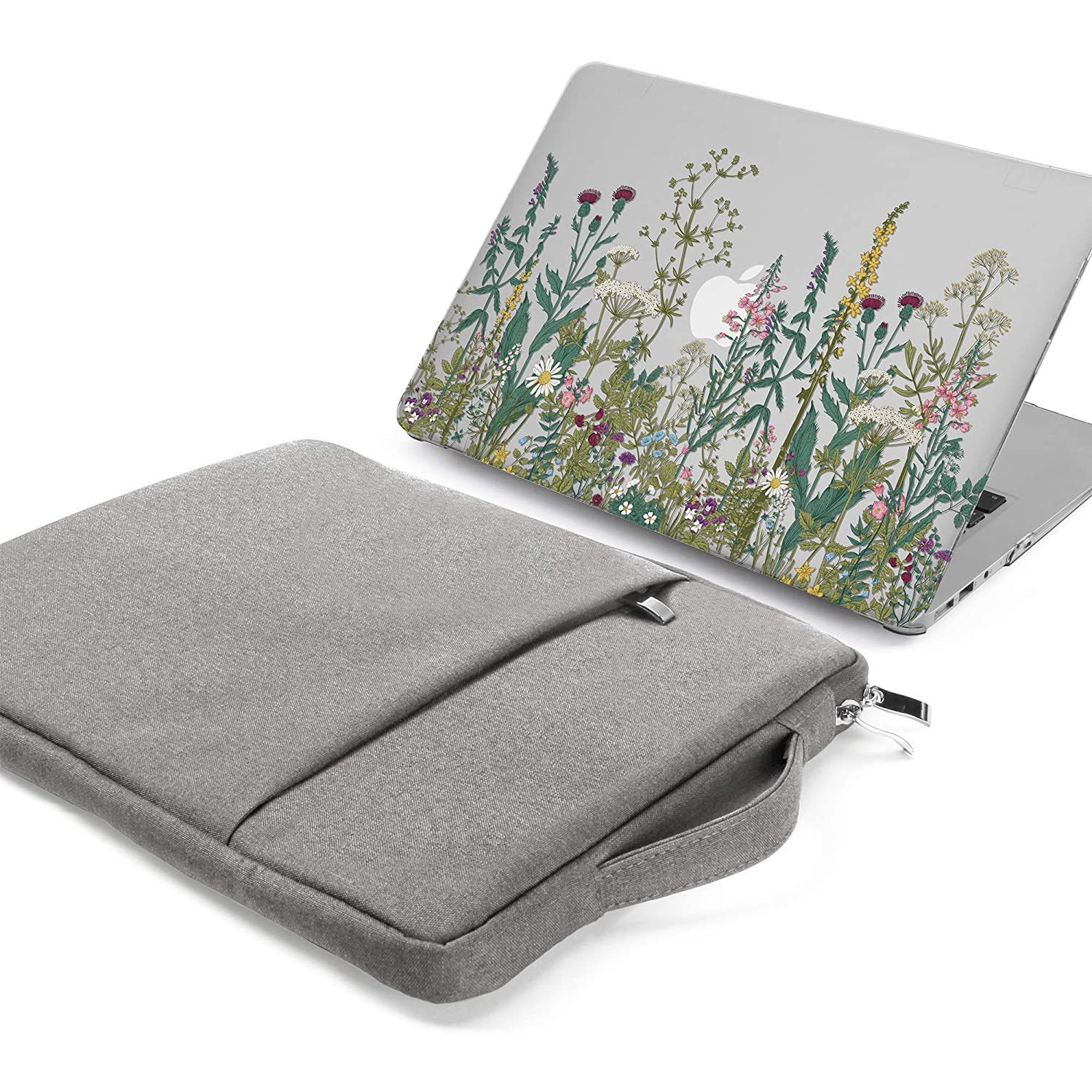 GMYLE MacBook Air 13 Inch Case A1466 / A1369 Older Version 2010-2017 2 in 1 Bundle, Hard Plastic Shell Cover and 13-13.3 Inch Carrying Sleeve Bag with Handle - Garden Flower Set