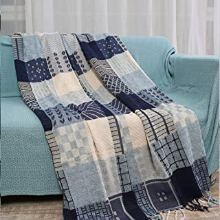YJBear Blue Grid Printed Double Sided Bohemian Decorative Cotton Woven Throw Blanket with Fringe Tapestry Super Soft Warm Chenille Knitted Sofa Towel Couch Blanket with Tassel 59