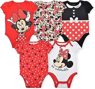 Disney Minnie Mouse Girl's 5-Piece Short Sleeve Baby Bodysuit Onesie Set