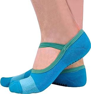 2 Pares Mujer Algodon Tobillero Invisibles Antideslizantes Calcetines para Yoga y Pilates