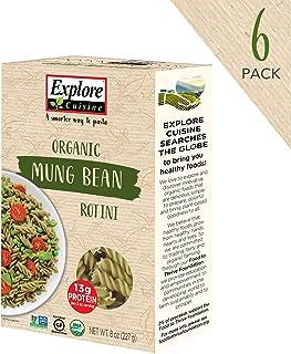 Explore Cuisine Organic Mung Bean Rotini (6 Pack) - 8 oz - High Protein, Gluten Free Pasta, Easy to Make - USDA Certified Organic, Vegan, Kosher, Non GMO - 24 Total Servings