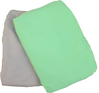Baby Bassinet Sheets for the Chicco Lullago & Ingenuity Foldaway Rocking Bassinets 32x19 | Set of 2 (Green/Gray) | Portable Travel Bassinet | Durable and Made to Last | 100% Woven Cotton