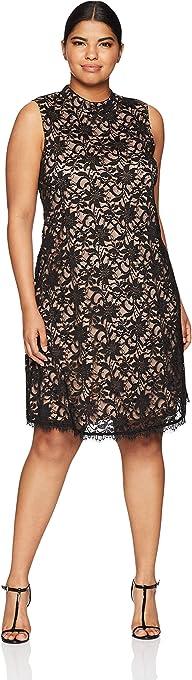 Tiana B Womens t90624 Plus Size Mock Neck A-line Dress Sleeveless Cocktail Dress
